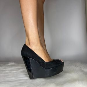 Jessica Simpson Suede Peep Toe Wedges